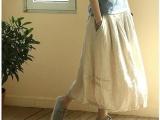 木子微棉麻夏款亚麻半身长裙 文艺范儿半裙