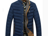 冬季新品男羽绒服 带围巾 双层领可脱卸 无帽 立领男休闲羽绒外套