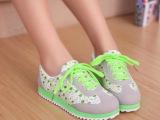 新款韩版正品女运动鞋女鞋韩版平底单鞋阿甘鞋碎花休闲低帮帆布鞋
