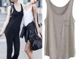夏季女装欧美大码中长款宽松女纯色口袋莫代尔背心外穿打底衫