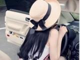 糖薇805 夏天韩版女士防晒太阳帽子 蝴蝶结女式遮阳帽宽檐草帽