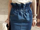 2014春夏新款深蓝色休闲牛仔花苞高腰短裙高腰半身裙包臀