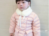 新款韩版女童装小童女宝宝圆点羽绒棉棉袄外套毛毛领棉衣gj015