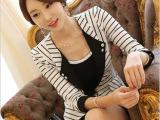 秋装新款百搭条纹短外套 女 品牌服饰韩版修身一粒扣小西装