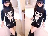 童装一件代发春秋新款韩版中大女童高领加绒中长款打底衫儿童卫衣
