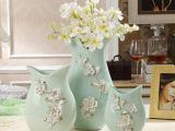 欧式田园家居装饰品摆件 雕花陶瓷花瓶插花器 乔迁礼品