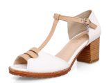 尚峰女鞋 新款时尚夏季色拼粗跟凉鞋 鱼嘴防水台高跟鞋 一件代发