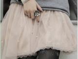 夏季 镶珠蕾丝边网纱裙 蓬蓬裙 公主裙 短裙百褶裙 半身短裙