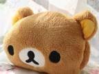 棕色轻松熊手捂 暖手 抱枕 靠垫 可爱 毛绒玩具轻松熊两用抱枕