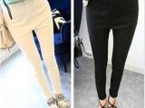 2014夏季新款 街拍必备百搭十足黑色白色高腰显瘦紧身长裤女 3