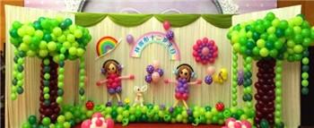 长沙六一幼儿园活动气球布置 幼儿园气球布置案例