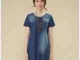 2014夏季女装韩版牛仔连衣裙 纯棉大码短袖牛仔连衣裙
