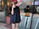 2015新款格子连袖连衣裙