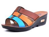 2014夏季新款女士坡跟女凉拖鞋沙滩鞋时尚百搭拼色大码拖鞋311