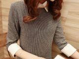 2014新款韩国代购修身针织雪纺拼接娃娃领打底格子连衣裙女装