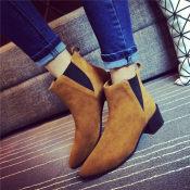 冬季女靴2014新款潮粗跟真皮短靴欧洲站马丁靴时装靴微信一件代发
