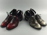 外贸原单女士休闲单鞋品牌正品新潮复古雕花鞋系带粗跟女士凉鞋