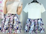 韩版2015夏季新款女装印花连衣裙蕾丝短袖两件套 A字裙套装