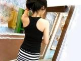 低价女式服装日韩女装条纹拼接长款背心裙