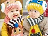 韩国儿童机器人造型帽子围巾两件套男女童宝宝秋冬毛线帽