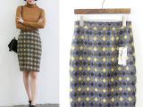 2015秋冬新款韩版女装格纹修身包臀呢子半身裙
