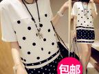 2014夏季新款韩版女装波点雪纺孕妇宽松短袖连衣裙现货批发