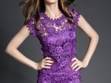 2015较新款流行涤光满幅花边 水溶立体叠花紫色花边女装裙子辅料