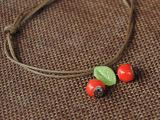 新款 小清新陶瓷饰品叶子森系项链吊坠复古