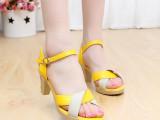 红蜻蜓新款女凉鞋夏季新款真皮粗跟高跟休闲女式凉鞋防水台鱼嘴鞋