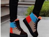 新品欧美风拼接松糕厚底雪地靴女靴子棉冬靴女鞋厂家直销一件代发