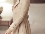 2014热卖秋季新款欧洲站中长款羊毛呢子大衣女  复古外套
