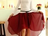 爆款义乌2014夏季韩版半身裙新款燕尾裙雪纺裙 厂家直销
