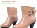 皮鞋 新款百搭热卖红蜻蜓风格真皮女鞋短靴