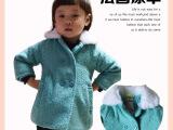 2014秋冬新款韩版童装女童仿毛呢外套连帽时尚女童棉衣批发