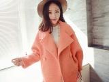 冬季保暖韩版简单廓形甜美休闲气质娃娃款蝙蝠袖毛呢夹棉外套女