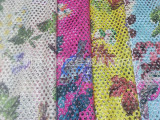 涤氨纶鞋材复合网眼布料女夏装连衣裙罩衫外套带丝印花网纱面料