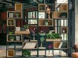 长沙梦园家居loft展示架 铁艺咖啡厅实木格子书柜