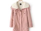 实拍2014冬季新款韩版宽松抽绳收腰大翻领羊羔绒棉服中长款棉衣