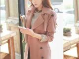 秋季风衣女韩版修身双层大翻领中长款配腰带风衣女装外套  女风衣