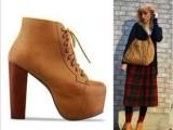 批发一件代发时尚百搭明星款粗跟防水台短靴货号,456-1