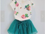 2014韩版童装女童清新花朵短袖短裙夏季新款2件套装