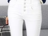 2014韩版秋款高腰女式牛仔裤 浅色加厚铅笔裤  女长裤批发