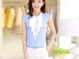 2014夏季新款 韩版女装短袖雪纺衫女 中长款雪纺衬衫上衣潮