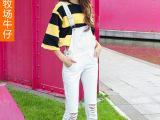 2015韩版白色背带牛仔裤 女装时尚吊带牛仔裤背带裤长裤厂家批发