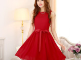 2014夏季新款 韩国修身打底连衣裙小礼服 优雅无袖雪纺公主裙