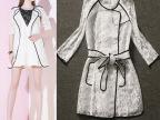 2014欧洲站新款女装优雅气质七分袖透视蕾丝风衣式防晒衫外套