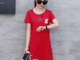 夏季新款印花女装韩版大码白色胖MM短袖女中长款流苏连衣裙潮