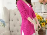 2015新款韩版针织衫 开叉镂空长袖修身V字领女装针织开衫