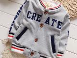 儿童秋冬装t恤加绒加厚中小童装男童女宝宝口袋开衫字母外套