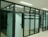 青岛高隔间工程 玻璃隔断 玻璃门感应门地簧门安装